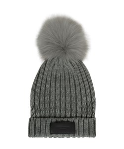 ROCKAND BLUE Hat Rib Knit. Grey /Grey Raccoon. Must-Have: 299,-