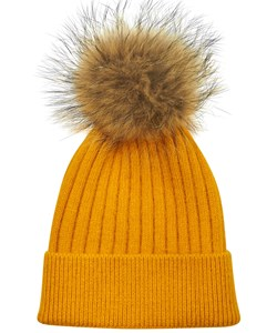ROCKANDBLUE Pom Pom Hue. Model: Freja. Golden Yellow / Natural Raccoon. We Love: 299,- V.I.P. Pris : 239,-