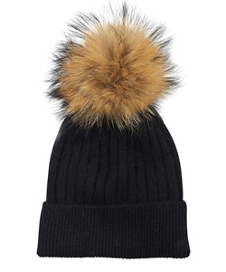 ROCKANDBLUE Pom Pom Hue. Model: Freja. Black / Natural Raccoon. We Love: 299,- V.I.P. Pris : 239,-